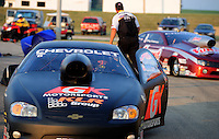 Jul. 1, 2012; Joliet, IL, USA: NHRA pro stock driver Erica Enders after defeating Greg Anderson to win the Route 66 Nationals at Route 66 Raceway. Mandatory Credit: Mark J. Rebilas-