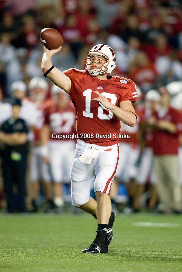 MADISON, WI - OCTOBER 11: Quarterback Dustin Sherer #18 of the Wisconsin Badgers throws a pass against the Penn State Nittany Lions at Camp Randall Stadium on October 11, 2008 in Madison, Wisconsin. The Nittany Lions beat the Badgers 48-7. (Photo by David Stluka)