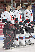Doug Jewer, Carter Lee, Pat Noonan - The Boston College Eagles and Northeastern University Huskies tied at 1 on Saturday, October 22, 2005, at Matthews Arena in Boston, Massachusetts.