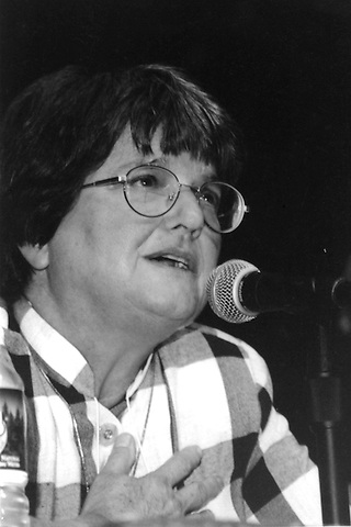 Sister Helen Prejean speaking at a conference of Murder Victims Families for Reconciliation at Boston College Chestnut Hill, MA