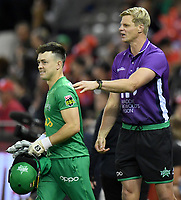 10th January 2020; Marvel Stadium, Melbourne, Victoria, Australia; Big Bash League Cricket, Melbourne Renegades versus Melbourne Stars; AFL legend Nick Riewoldt embraces Seb Gotch of the Stars - Editorial Use