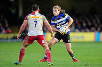 Max Clark of Bath Rugby in possession. Aviva Premiership match, between Bath Rugby and Harlequins on February 18, 2017 at the Recreation Ground in Bath, England. Photo by: Patrick Khachfe / Onside Images