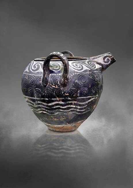 Minoan Kamares Ware spouted jar with 2 handles with  polychrome decorations, Phaistos Palace 1800-1600 BC; Heraklion Archaeological  Museum, grey background.<br /> <br /> This style of pottery is named afetr Kamares cave where this style of pottery was first found