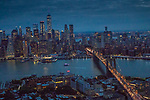 USA, New York, Manhattan, aerial, Brooklyn Bridge