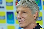 El entrenador del seleccionado colombiano, José Pekerman, en rueda de prensa.