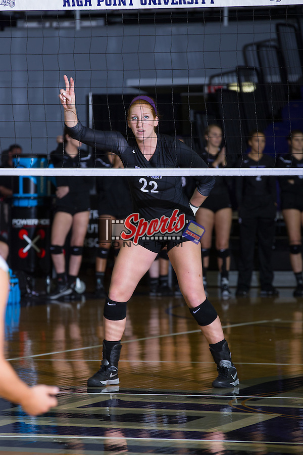 Molly Livingston (22) of the High Point Panthers during the match against the Marshall Thundering Herd at the Panther Invitational at the Millis Athletic Center on September 12, 2015 in High Point, North Carolina.  The Thundering Herd defeated the Panthers 3-2.   (Brian Westerholt/Sports On Film)