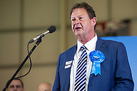 Pictured: Tory candidate is the former Mayor and leader of Newport City council Matthew Evans (centre) during the Newport West by-election ballot count at the Geraint Thomas National Velodrome of Wales in Newport, South Wales, UK. <br /> Thursday 04 April 2019<br /> Re: Voters in Newport West are going to the polls to elect a new member of Parliament.<br /> The seat in south east Wales became vacant following the death of Paul Flynn earlier in February.