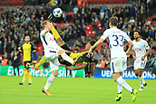 13th September 2017, Wembley Stadium, London, England; Champions League Group stage, Tottenham Hotspur versus Borussia Dortmund; Pierre-Emerick Aubameyang of Borussia Dortmund goes for an over head kick