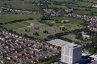 Aerial view of Morriston Crematorium and Cemetery in Swansea