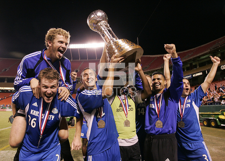 Kansas City Wizards celebrate their 1-0 victory over Chicago to win the US Open Cup, at Arrowhead Stadium, in Kansas City, MO, Wednesday, Sept., 22, 2004.
