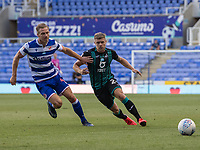 Reading's Michael Morrison (left) vies for possession with Swansea City's Jake Bidwell (right) <br /> <br /> Photographer David Horton/CameraSport<br /> <br /> The EFL Sky Bet Championship - Reading v Swansea City - Wednesday July 22nd 2020 - Madejski Stadium - Reading <br /> <br /> World Copyright © 2020 CameraSport. All rights reserved. 43 Linden Ave. Countesthorpe. Leicester. England. LE8 5PG - Tel: +44 (0) 116 277 4147 - admin@camerasport.com - www.camerasport.com