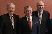 Washington, DC - March 12, 2019: King Abdullah II of Jordan poses for a photo with Senate Majority Leader Mitch McConnell and Sen. Patrick Leahy at the U.S. Capitol Hill  March 12, 2019.  (Photo by Lenin Nolly/Media Images International)