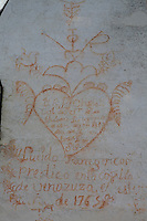 Early romantic graffiti on the eighteenth-century chapel in the grounds of the Hacienda Benazuza, Sanlucar La Mayor, Spain