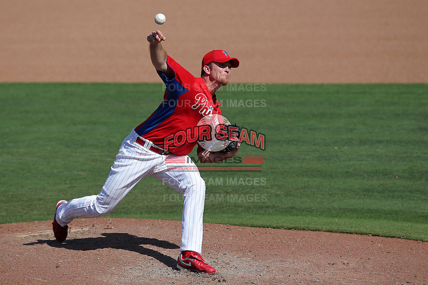 Philadelphia Phillies Brad Lidge #54 during a spring training game against the Baltimore Orioles at Bright House Field in Clearwater, Florida;  March 8, 2011.  Photo By Mike Janes/Four Seam Images