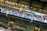 "Real Madrid's with a banner with the legend ""Mou, tu dedo nos senala el camino...."", ""Mou, your finger shows us the way..."" during Santiago Bernabeu Trophy.August 24,2011. (ALTERPHOTOS/Acero)"
