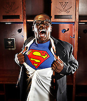 UVa football runningback Perry Jones is known to his teammates as Superman because of his speed and strength on the field.