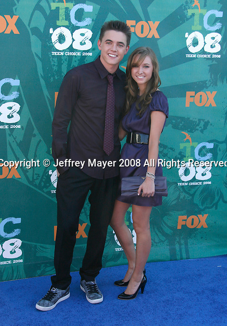 Actor Jesse McCartney and sister Lea McCartney arrive at the 2008 Teen Choice Awards at the Gibson Amphitheater on August 3, 2008 in Universal City, California.