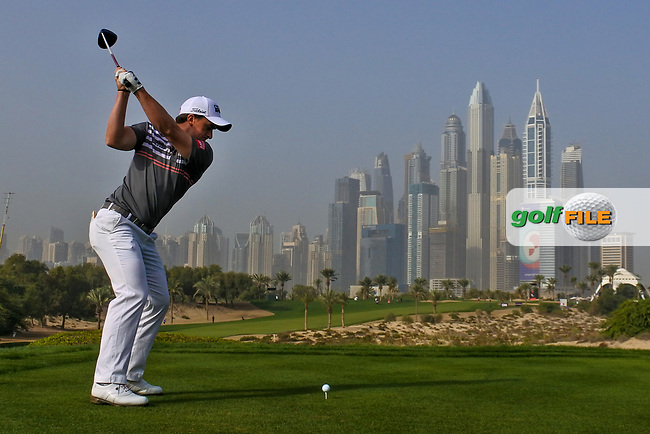 Paul Dunne (IRL) on the 8th tee during Round 2 of the Omega Dubai Desert Classic, Emirates Golf Club, Dubai,  United Arab Emirates. 25/01/2019<br /> Picture: Golffile   Thos Caffrey<br /> <br /> <br /> All photo usage must carry mandatory copyright credit (© Golffile   Thos Caffrey)