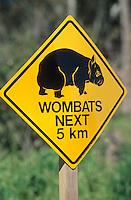 Océanie/Australie/South Australia/Australie Méridionale: Panneau signalant la présence de Wombats