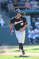 Billy King (19) of the Oregon State Beavers runs to first base during a game against the UCLA Bruins at Jackie Robinson Stadium on April 4, 2015 in Los Angeles, California. UCLA defeated Oregon State, 10-5. (Larry Goren/Four Seam Images)
