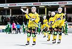 Stockholm 2014-12-19 Bandy Elitserien Hammarby IF - Broberg S&ouml;derhamn :  <br /> Broberg S&ouml;derhamns Jonas Nygren och Ilari Moisala  tackar Broberg S&ouml;derhamns supportrar efter matchen mellan Hammarby IF och Broberg S&ouml;derhamn <br /> (Foto: Kenta J&ouml;nsson) Nyckelord:  Elitserien Bandy Zinkensdamms IP Zinkensdamm Zinken Hammarby Bajen HIF Broberg S&ouml;derhamn jubel gl&auml;dje lycka glad happy