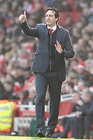 Arsenal manager Unai Emery shouts instructions to his team from the touchline<br /> <br /> Photographer David Shipman/CameraSport<br /> <br /> The Premier League - Arsenal v Burnley - Saturday 22nd December 2018 - The Emirates - London<br /> <br /> World Copyright © 2018 CameraSport. All rights reserved. 43 Linden Ave. Countesthorpe. Leicester. England. LE8 5PG - Tel: +44 (0) 116 277 4147 - admin@camerasport.com - www.camerasport.com
