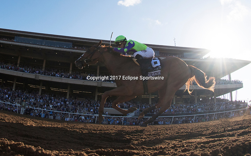 DEL MAR, CA - NOVEMBER 04: Good Magic #6, ridden by Jose Ortiz, heads down the stretch on the way to winning the Sentient Jet Breeders' Cup Juvenile race on Day 2 of the 2017 Breeders' Cup World Championships at Del Mar Racing Club on November 4, 2017 in Del Mar, California. (Photo by Alex Evers/Eclipse Sportswire/Breeders Cup)