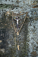 Rosary beads at a Catholic shrine.