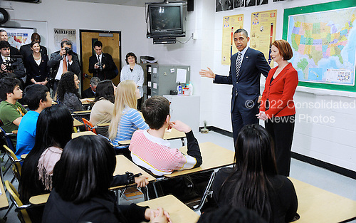 United States President Barack Obama and Australian Prime Minister Julia Gillard (R) speak with advanced placement US history students at Wakefield High School in Arlington, Virginia, on March 7, 2011..Credit: Olivier Douliery / Pool via CNP