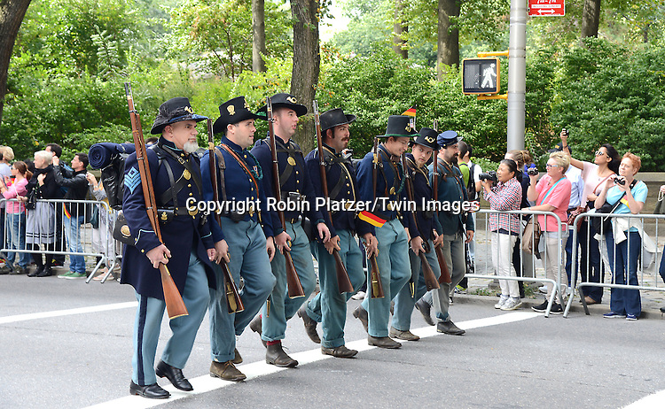 German civil war reinactors marchs in the Steuben Parade on Fifth Avenue in New York City on September 20. 2014. <br /> <br /> photo by Robin Platzer/Twin Images<br />  <br /> phone number 212-935-0770