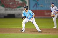 Michael Barash (32) of the Inland Empire 66ers takes his lead off of second base against the Stockton Ports at San Manuel Stadium on July 6, 2017 in San Bernardino, California. The Ports defeated the 66ers 7-6.  (Brian Westerholt/Four Seam Images)