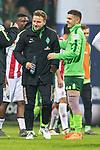 12.03.2018, Weserstadion, Bremen, GER, 1.FBL, SV Werder Bremen vs 1. FC Koeln<br /> <br /> im Bild<br /> Philipp Bargfrede (Werder Bremen #44) bejbuelt Sieg mit Milot Rashica (Werder Bremen #11) nach Spielende, <br /> <br /> Foto &copy; nordphoto / Ewert