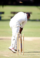 John Scantlebury of North London is bowled by Nish Patel during the Middlesex County League Division three game between North London and South Hampstead at Park Road, Crouch End on Sat July 30, 2011