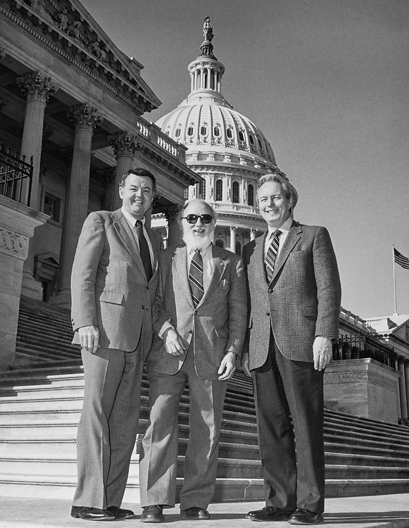 Rep. John T. Myers, R-Ind., with party members at Capitol Hill. (Photo by CQ Roll Call)