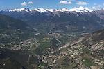 Vue  a&eacute;rienne sur le village de Guillestre , la vall&eacute;e du Guil et  la place forte de Mont Dauphin. Vall&eacute;e de la Durance domin&eacute;e par les &quot;4000&quot; du massif des Ecrins.<br /> <br /> View on Guillestre Guil valley and  Durance valley with the snowy summits of the mountains of Ecrins