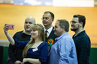 Pictured: Plaid Cymru's candidate, Jonathan Clark (centre) during the Newport West by-election ballot count at the Geraint Thomas National Velodrome of Wales in Newport, South Wales, UK. <br /> Thursday 04 April 2019<br /> Re: Voters in Newport West are going to the polls to elect a new member of Parliament.<br /> The seat in south east Wales became vacant following the death of Paul Flynn earlier in February.