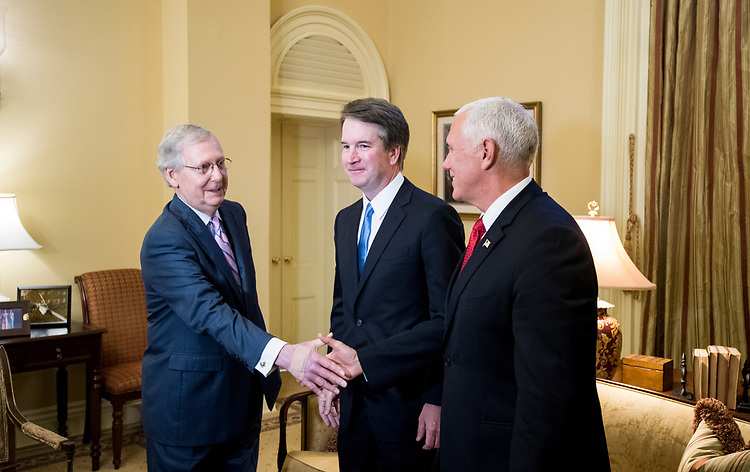 UNITED STATES - JULY 10: From left, Senate Majority Leader Mitch McConnell, R-Ky., Supreme Court nominee Brett Kavanaugh, and Vice President Mike Pence meet in McConnell's office in the Capitol on Tuesday, July 10, 2018, the day after President Donald Trump nominated Kavanaugh to the Supreme Court. (Photo By Bill Clark/CQ Roll Call/POOL)