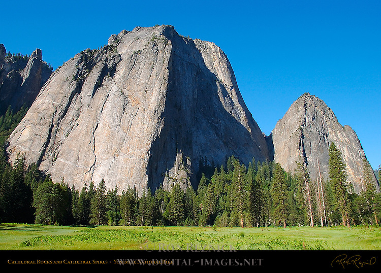 Cathedral Rocks, Middle Cathedral Rock, Lower Cathedral Rock and Cathedral Spires from El Capitan Meadow, Yosemite National Park
