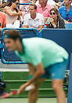 Stefan Edberg and Mirka Federer watch on as Roger Federer (SUI) wins his 6th Western & Southern Open after defeating David Ferrer (ESP) by 63 16 62 in Mason, OH on August 17, 2014.