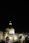 Israel, the Church of the Annunciation in Nazareth at night