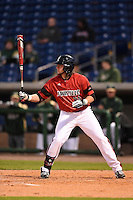 Louisville Cardinals third baseman Blake Tiberi (26) at bat during a game against the USF Bulls on February 14, 2015 at Bright House Field in Clearwater, Florida.  Louisville defeated USF 7-3.  (Mike Janes/Four Seam Images)