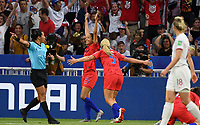 20190702 - LYON , FRANCE : American Christen Press (middle) pictured celebrating her goal and the 0-1 lead for USA during the female soccer game between England  - the Lionesses - and The United States of America  – USA - , a knock out game in the semi finals of the FIFA Women's  World Championship in France 2019, Tuesday 2 nd July 2019 at the Stade de Lyon  Stadium in Lyon  , France .  PHOTO SPORTPIX.BE | DAVID CATRY