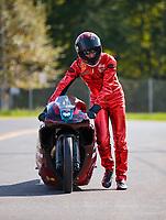Sep 16, 2018; Mohnton, PA, USA; NHRA pro stock motorcycle rider Matt Smith during the Dodge Nationals at Maple Grove Raceway. Mandatory Credit: Mark J. Rebilas-USA TODAY Sports