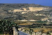 Gozo, Malta.  Limestone Quarry.  Semi-arid Vegetation, Rocky Terrain.