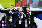Lille - France- 05 October 2014 --  Euroskills 2014 competition, closing ceremony and medals. -- Team Finland - Ville Vuorinen (vas.), Niklas Lindgren and Pekka Tuukkanen (ri) hopea, silver medalists, ICT-asiantuntija / Enterprise ICT Team Challenge and Best of Finland (gold, kultaa). -- PHOTO: SkillsFinland / Juha ROININEN - EUP-IMAGES