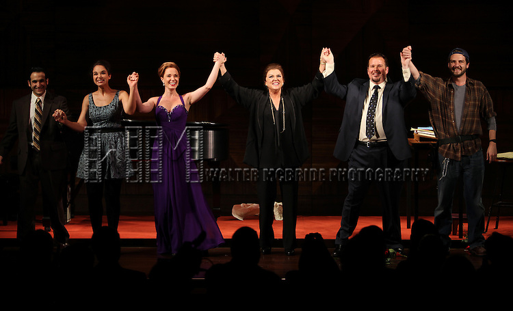 Tyne Daly as Maria Callas with Jeremy Cohen, Alexandra Siber, Sierra Boggess, Garrett Sorenson & Clinton Brandhagen.at the Opening Night Performance Curtain Call for The Manhattan Theatre Club's  'Master Class' at the Samuel J. Friedman Theatre in New York City.