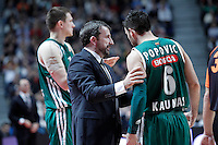 Zalgiris Kaunas' coach Joan Plaza (l) and Marko Popovic during Euroleague 2012/2013 match.January 11,2013. (ALTERPHOTOS/Acero) /NortePhoto