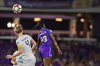 Orlando, FL - Saturday July 15, 2017: Becky Sauerbrunn, Jasmyne Spencer during a regular season National Women's Soccer League (NWSL) match between the Orlando Pride and FC Kansas City at Orlando City Stadium.