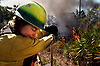 A forestry fire fighter wipes her mouth during a prescribed burn in Naples Florida.