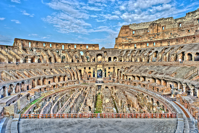 An HDR image of the interior of the Colosseum in Rome, Italy.
